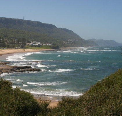 Looking north along the coastline to the Royal National Park from Shark Park south of Coledale.
